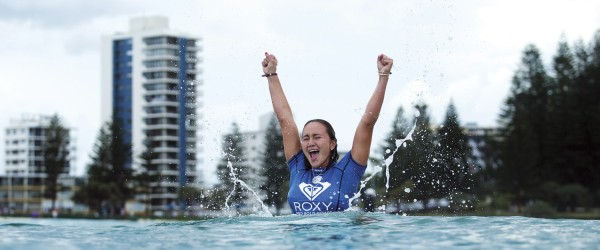COOLANGATTA, QUEENSLAND - MARCH 13:  Carissa Moore of Hawaii is the 2015 Roxy Pro Gold Coast Champion after defeating reigning 6-times WSL Champion Stephanie Gilmore of Australia in the final at Snapper Rocks on March 13, 2015 in Coolangatta, Australia.  (Photo by Kelly Cestari/WSL via Getty Images)
