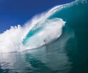Tahiti's Matahi Drollet remaining calm under high water pressure. Photo: Brent Biemann
