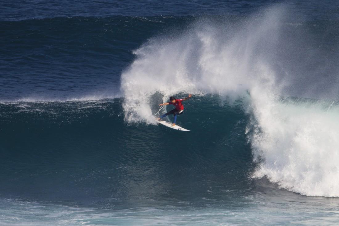 MARGARET RIVER, WESTERN AUSTRALIA - APRIL 22: Malia Manuel of Hawaii surfs during the semifinals of the Drug Aware Margaret River Pro on April 22, 2015 in Margaret River, Australia. (Photo by Kirstin Scholtz/WSL via Getty Images)
