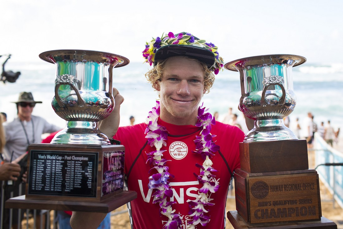 John John Florence of Hawaii (pictured) third place finish and Qualifying Series Regional Champion at the Vans World Cup of Surfing on December 3, 2015.