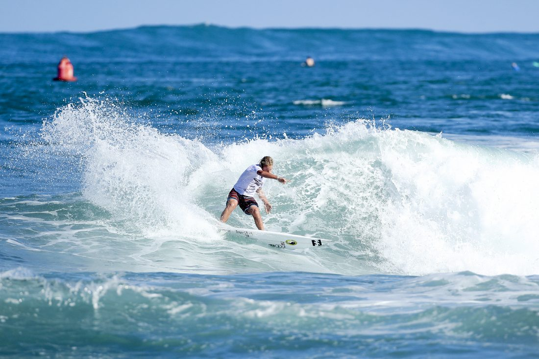 Finn McGill placed second in Heat 5 of Round One at the Hawaiian Pro at Haleiwa today. Photo Cestari / WSL